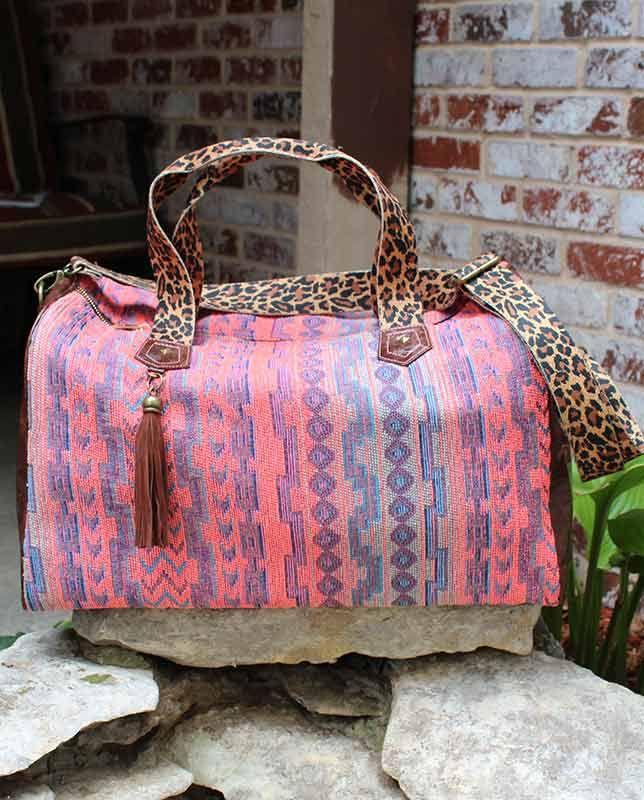 8c91fa804e6b Catchfly Darcy Coral and Periwinkle Aztec Striped Serape Overnight Bag  #Fall2015 #Accessories luggage duffle duffel leopard print animal safari  Aztec design ...