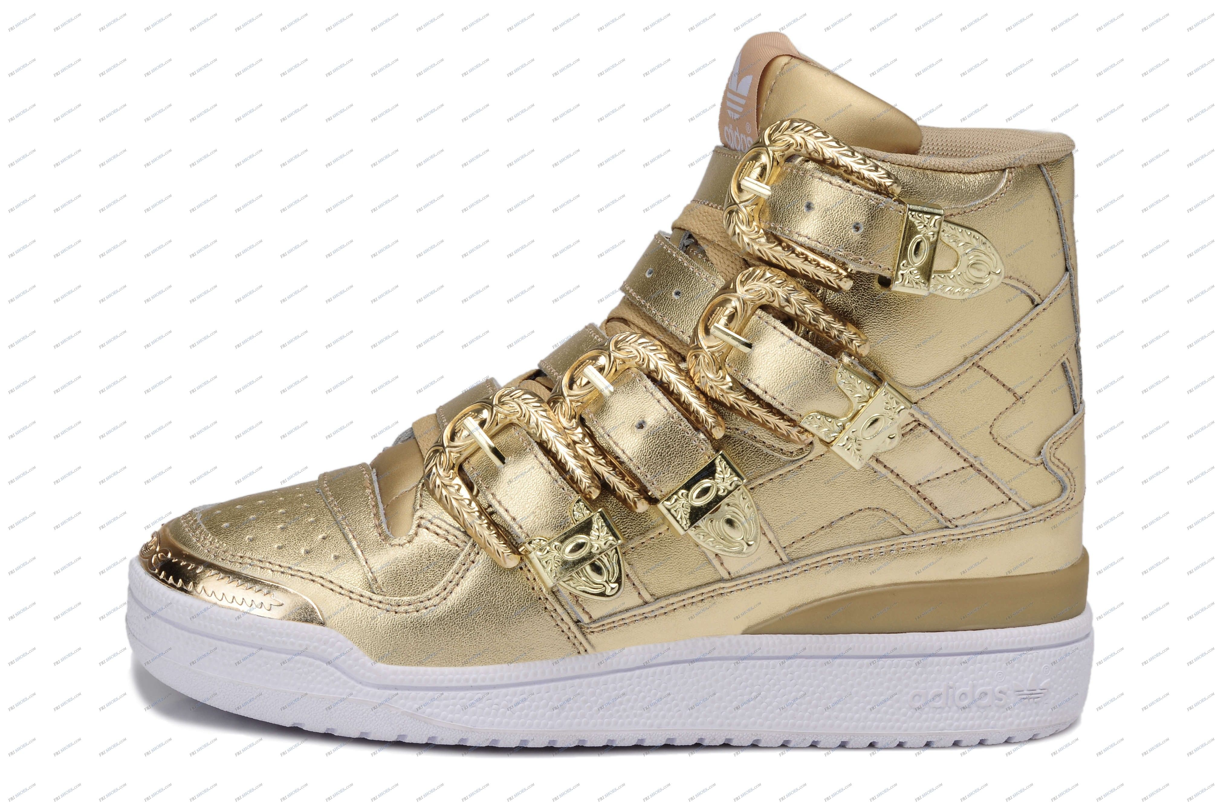 673e206502d1 Adidas Originals Jeremy Scott Forum Hey Metal Golden Women s Running Shoes  sneakers online shop