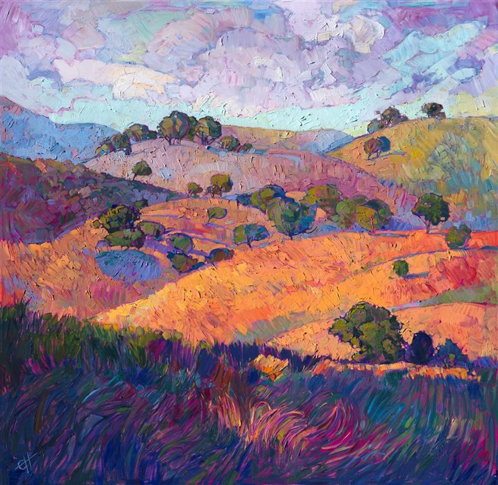 Paso Robles Rolling Hills Landscape Oil Painting By Expressionism Painter Erin Hanson Oil Painting Landscape Landscape Paintings Landscape Art