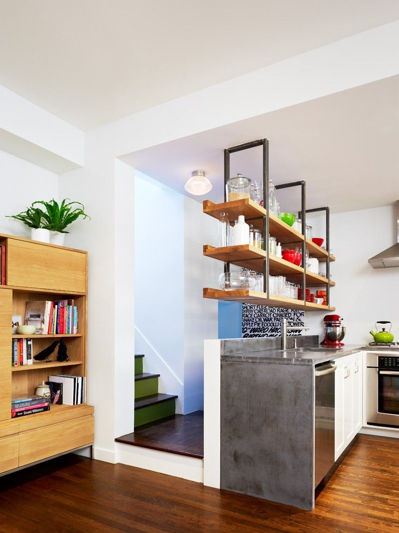 shelving hanging from the ceiling // this home in brooklyn gets an