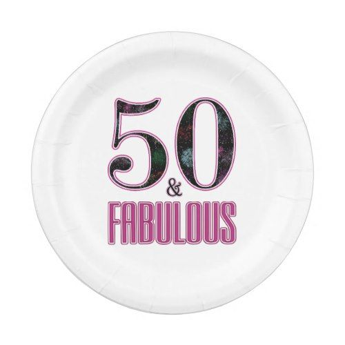 50 \u0026 Fabulous Pink Black Typography 50th Birthday Paper Plate  sc 1 st  Pinterest : pink and black paper plates - pezcame.com