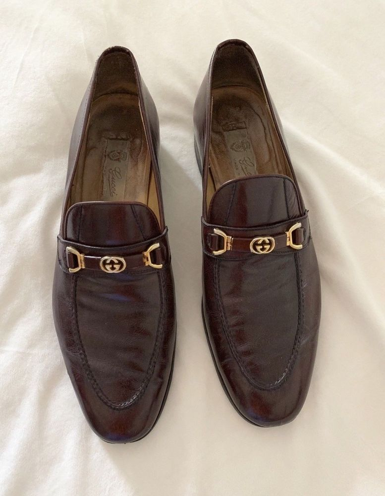 ef72d0b8837 GUCCI MEN S Horse Bit GG Brown Leather LOAFERS SIZE 45 RARE  Gucci   LoafersSlipOns  dresscasual