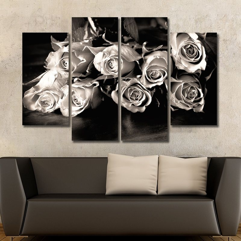 No Frame 4 Pieces Wall Art Picture Retro Romantic White Rose