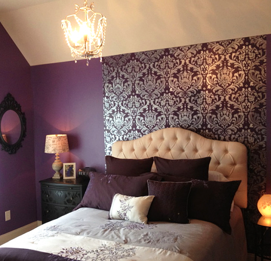 The Best Stencil Color For A Bedroom Deep Purple Bedrooms Bedroom Makeover Damask Bedroom