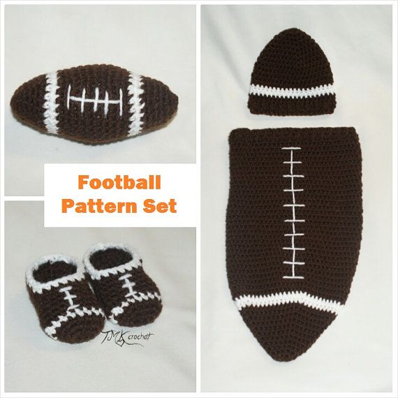 Crochet Football Newborn Cocoon And Hat Booties And Toy Collection