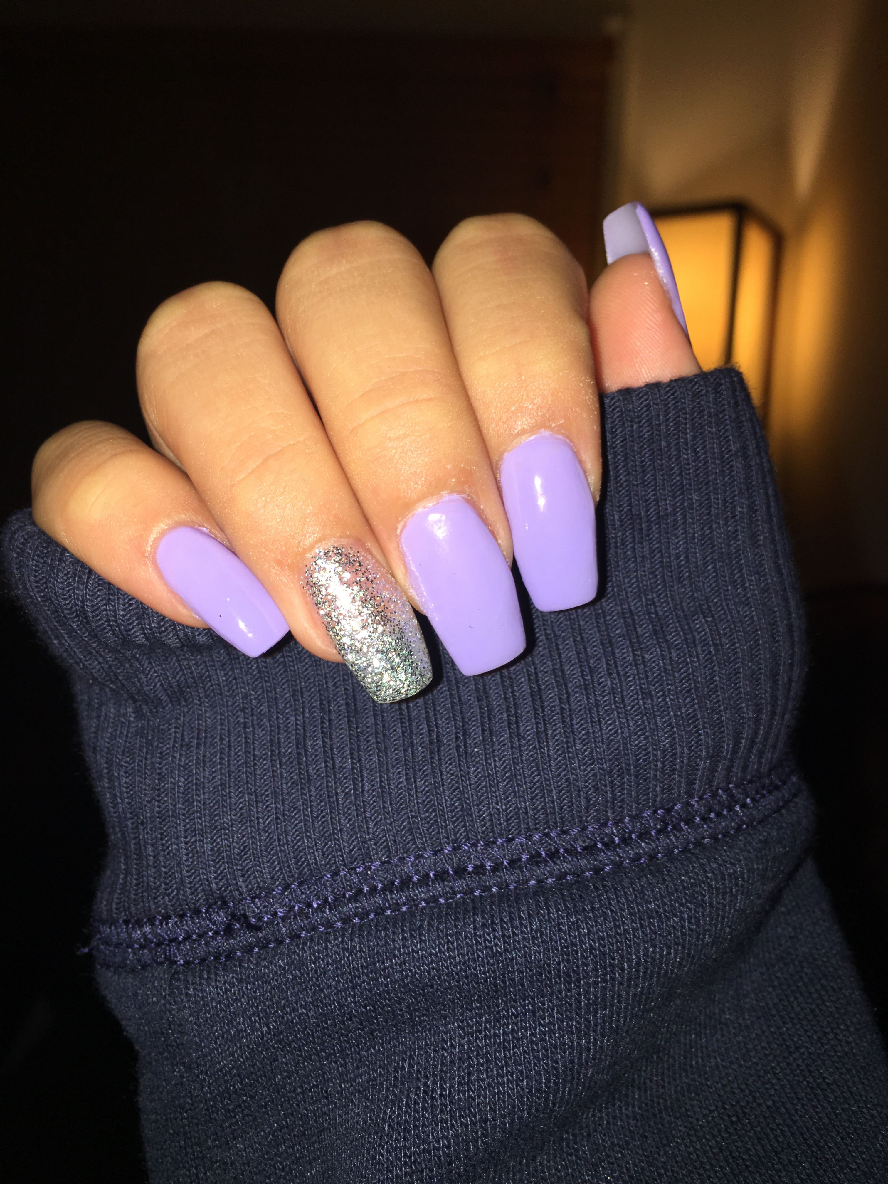 lavender nails with glitter na l