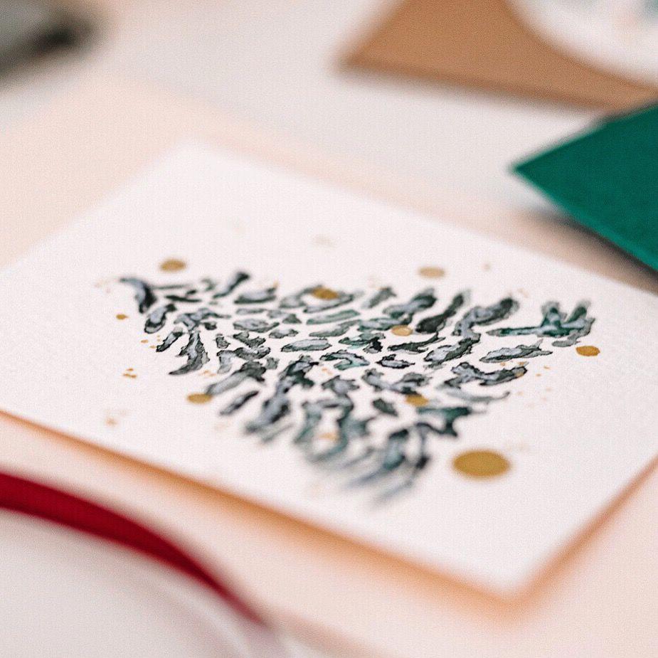 Weihnachtsmotive Für Karten.Weihnachtskarten Selber Machen Christbaum Tannenbaum Tanne