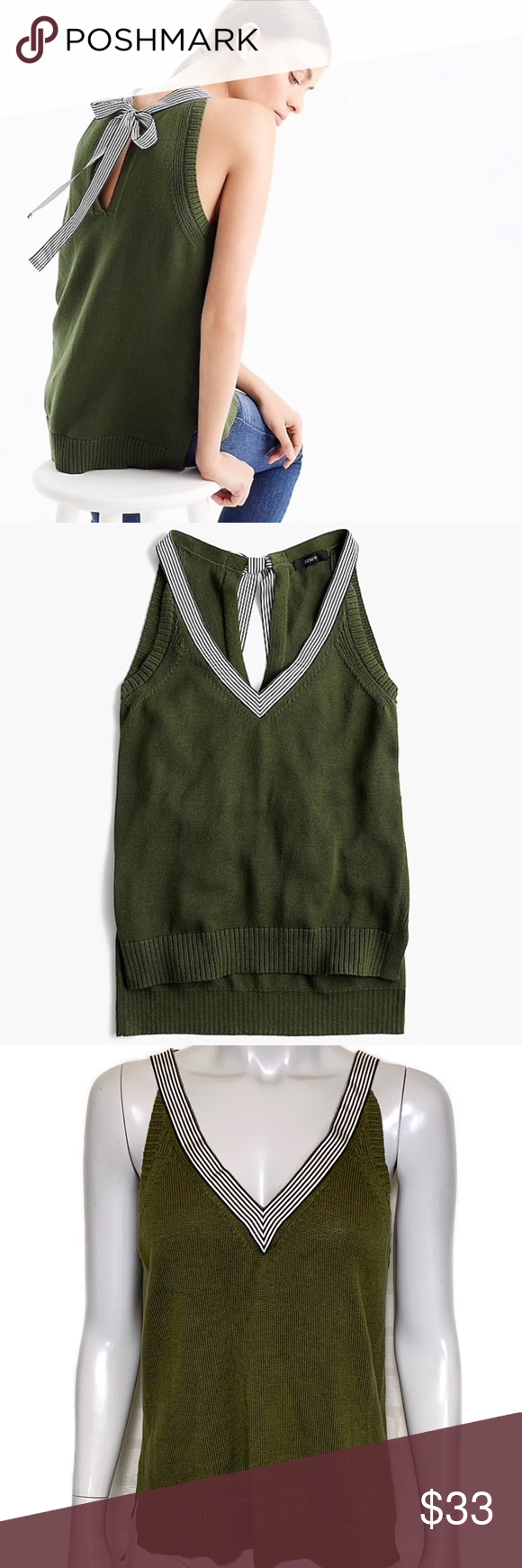 0606af5317ada  j. crew  sleeveless sweater with grosgrain trim Sleeveless v-neck pullover  sweater