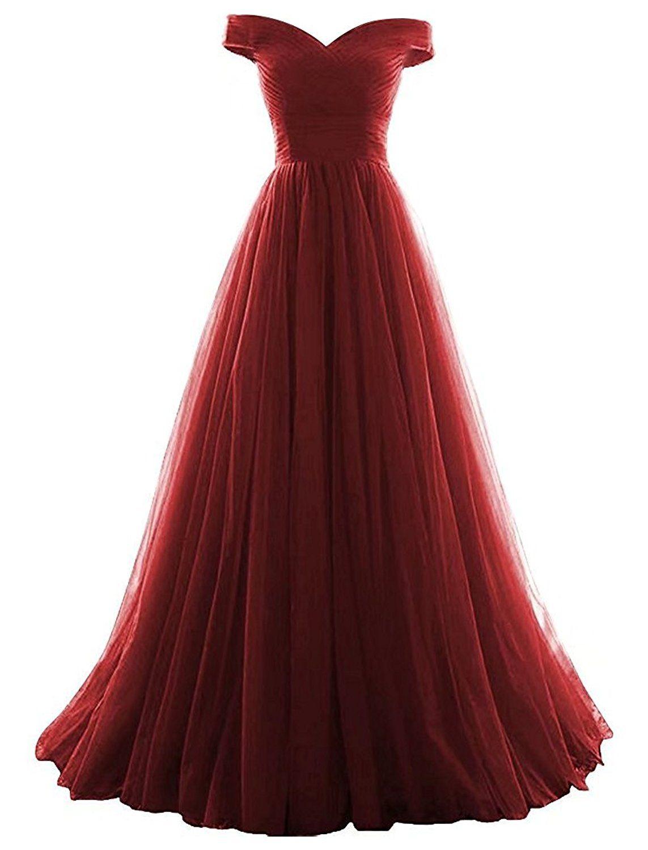 Vickyben Damen langes Ab-Schulter Tuell Prinzessin Kleid