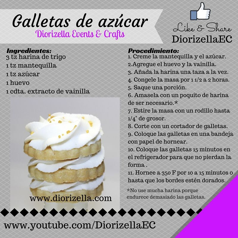 Día de las Galletas de Azúcar. #DiorizellaEC #SugarCookiesDay #galletasdeazucar #puertorico #receta #DIY #galletas