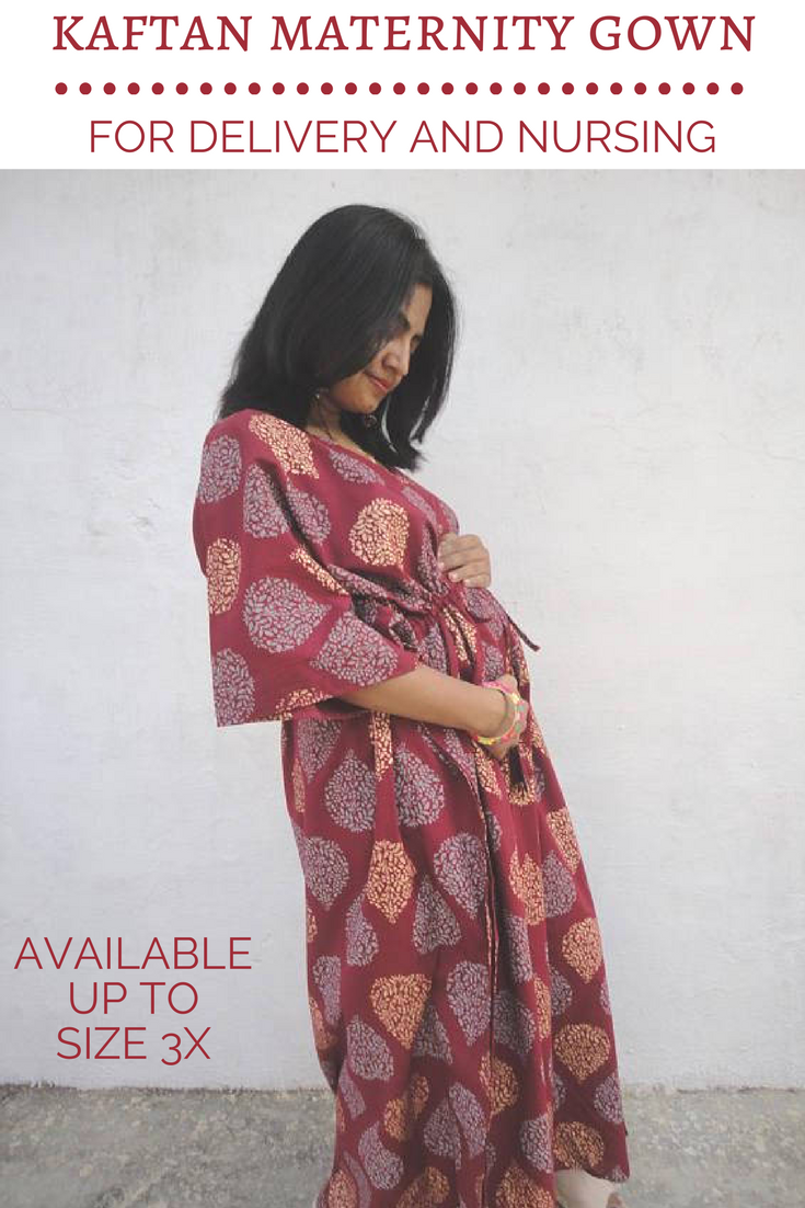 Long kaftan style maternity gown | hospital robe | labor and ...