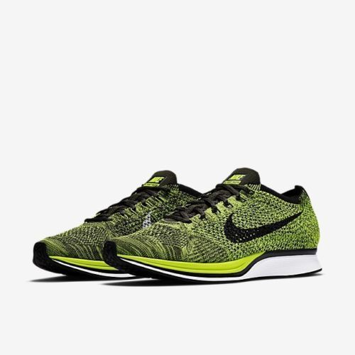 a4acd9f72423 Nike Flyknit Racer Running Shoes Mens 9 Volt Black Sequoia 526628 731  Nike   RunningCrossTraining
