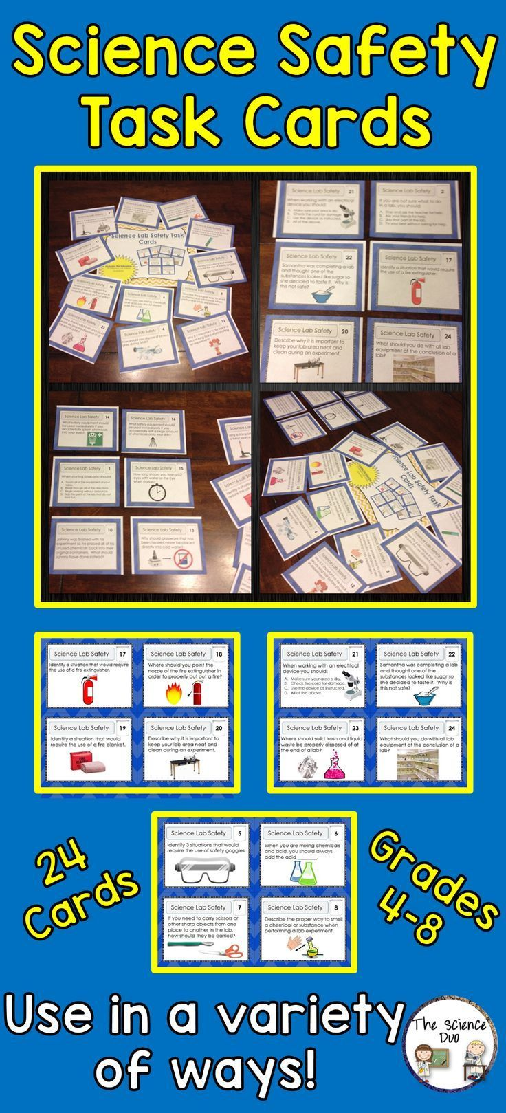 Science Lab Safety Task Cards Science lab safety