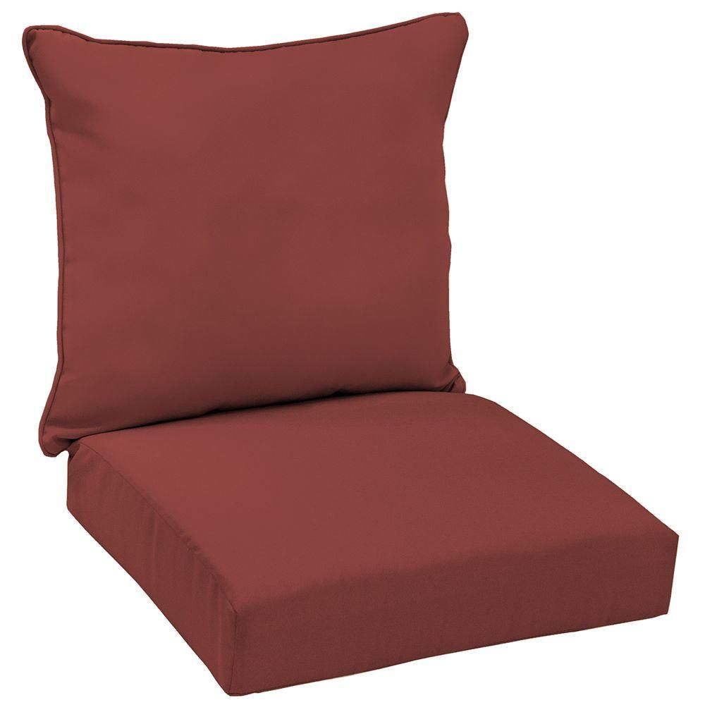 Hampton Bay Chili Solid Welted 2Piece Deep Seating Outdoor Lounge