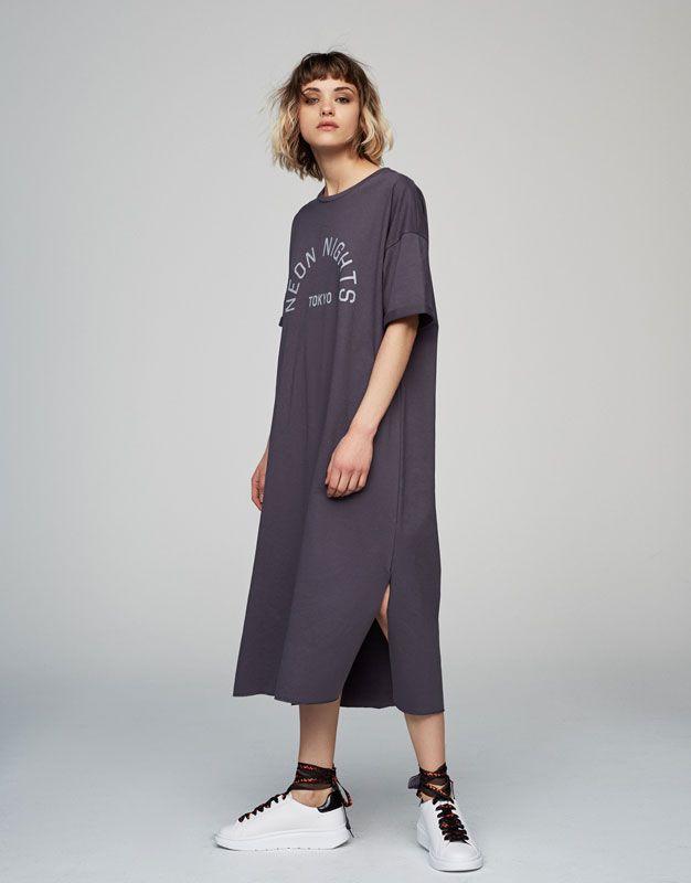 Vestido felpa print mensaje - Vestidos - Ropa - Mujer - PULL&BEAR España