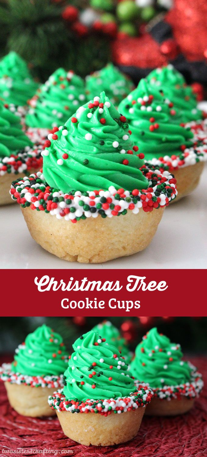 Christmas Tree Cookie Cups Recipe Two Sisters Crafting Blog