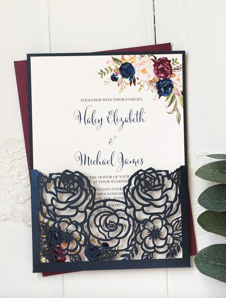 Navy and BurgundyMarsala Roses Burgundy wedding invitations Navy