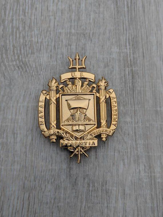 Large United States Naval Academy Crest Gold Tone Double