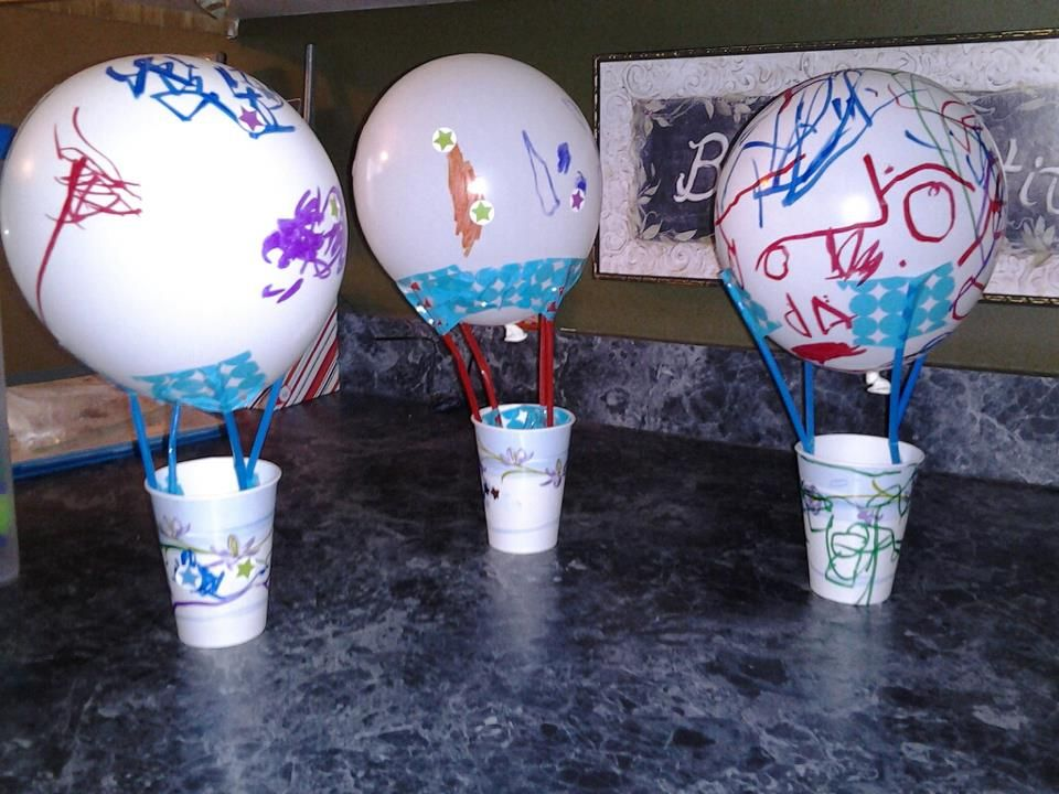hot air balloon craft using a balloon straws paper cup