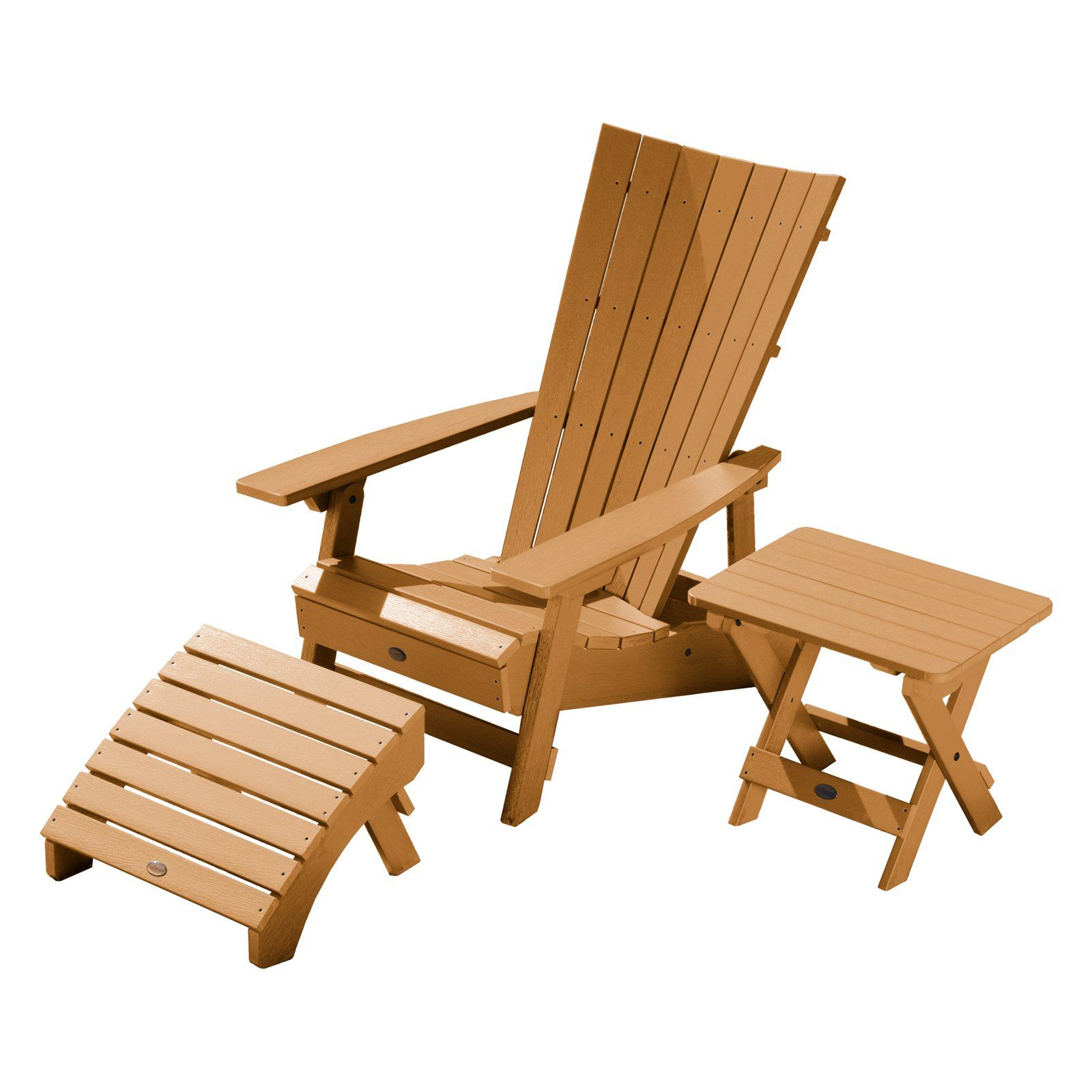 Outdoor Highwood Usa Manhattan Beach Adirondack Chair With Folding Side Table And Ottoman Toffee Outdoor Chairs Patio Chairs Ottoman Table
