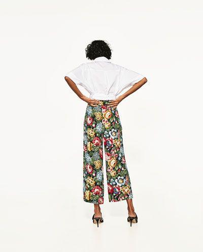 Zdjecie 5 Spodnie Typu Culotte Z Nadrukiem W Kwiaty Z Zara Culottes Trousers Women Floral Prints