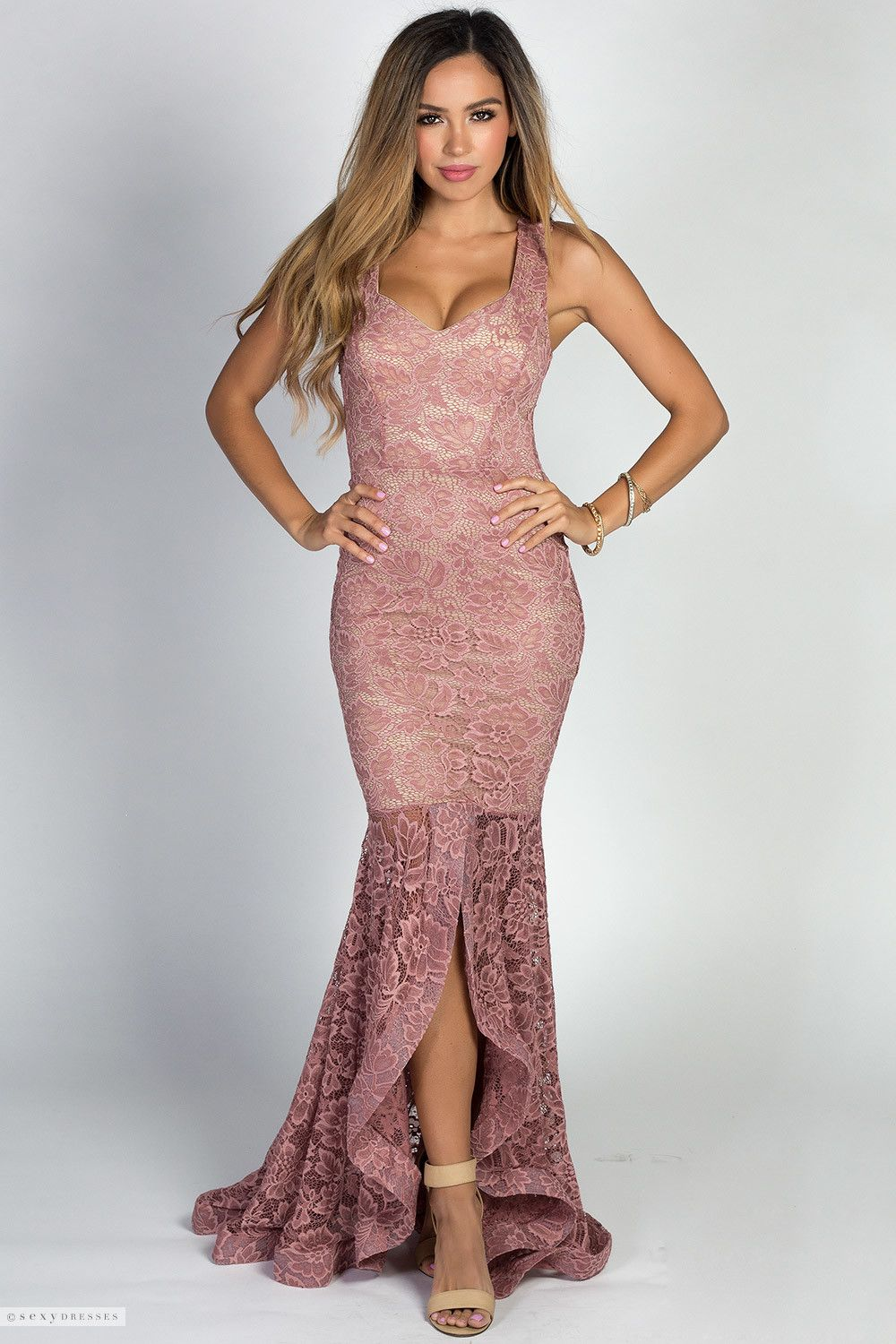 53191529d5e Sleeveless Ruffled Mermaid Style Mauve Pink Lace Maxi Gown with Sweetheart  Neckline