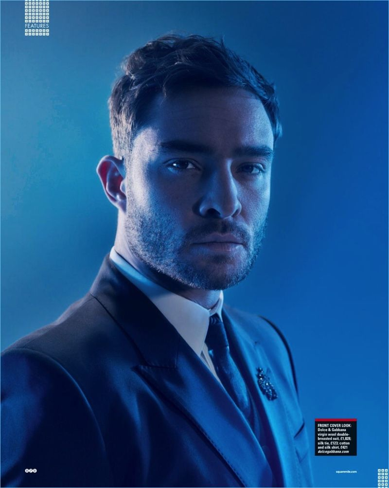 Actor Ed Westwick wears Dolce & Gabbana tailoring for Square Mile.