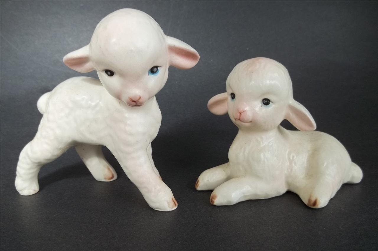 Vintage Lefton China Figurines Pair Easter Lambs Japan H4546 Easter Lamb Lefton China Lefton