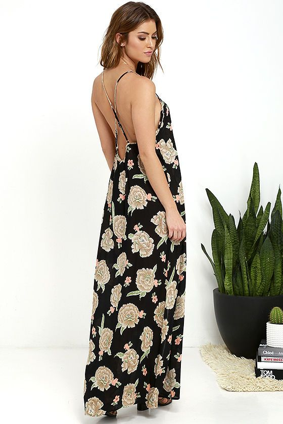 2b87303e809 Amuse Society Aryia Black Floral Print Maxi Dress at Lulus.com ...