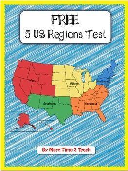 FREE 5 US Regions Map TestSocial Studies History US History