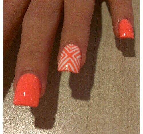 Very Cute Neon Orange Nail Art