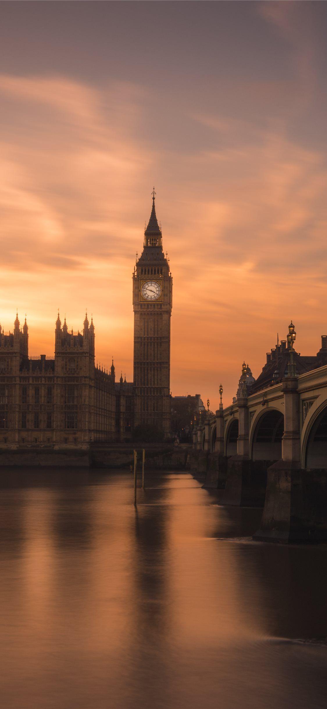 Big Ben in London sunset city grey london England in