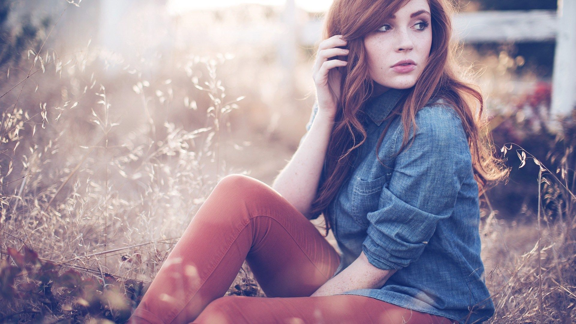Denim Shirt Girl Filed Sepia Colors Hd Wallpaper  Cool