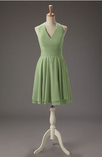 Sage Green Simple V-neck Zipper Chiffon Knee Length Pleated Homecoming Dresses