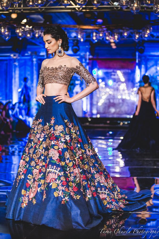 Blue Lehenga with Floral Embroidery and Thread work (With ...