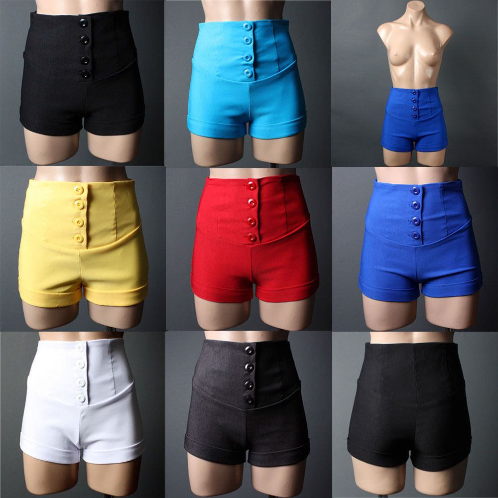Details about Women Casual Colored High-Waisted Skinny SHORTS ...