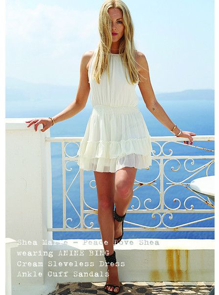 Peace love Shea in ANINE BING dress and sandals