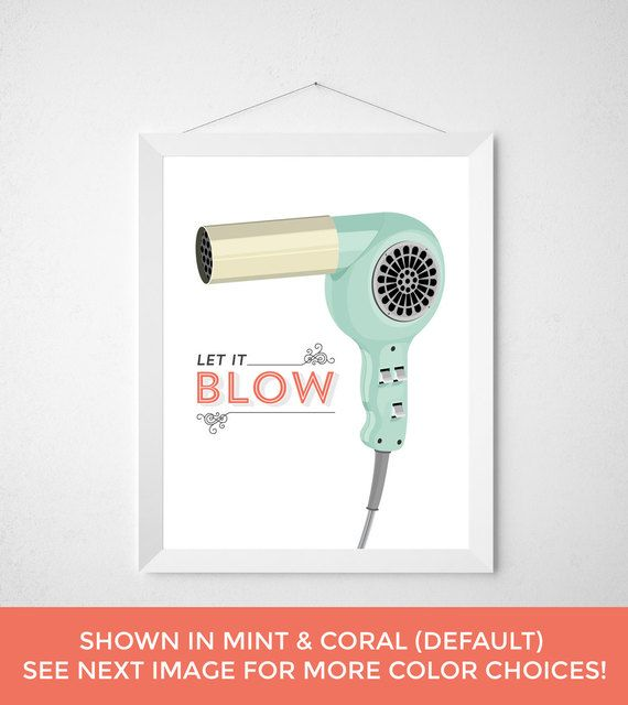 Mint Bath With Coral Accent Wall: Hairdryer Vanity Hair