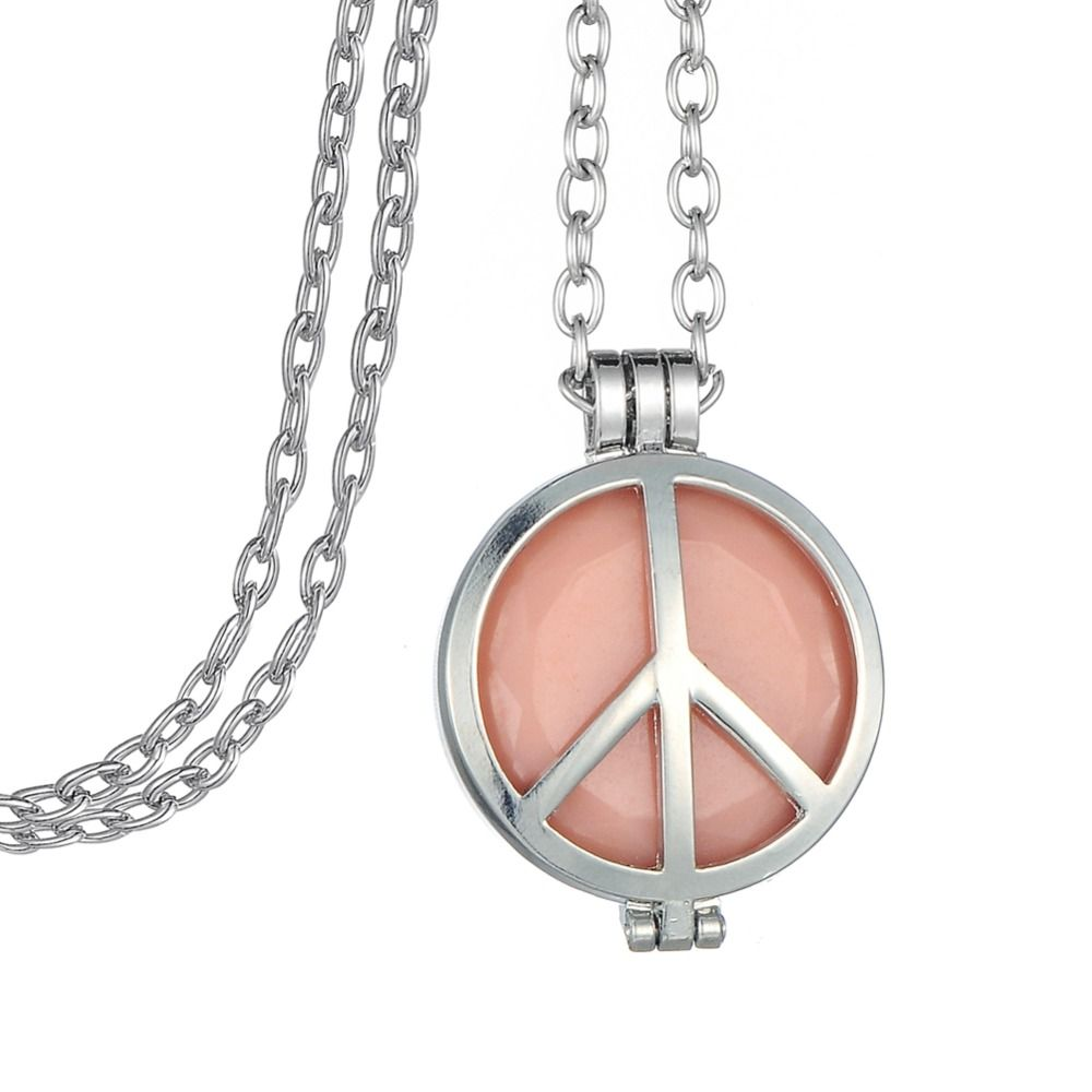 Minimal Round Disc Locket With Peace Sign Essential Oil Pendant Night Vision Necklace Women Accessories Glow in the Dark Jewelry