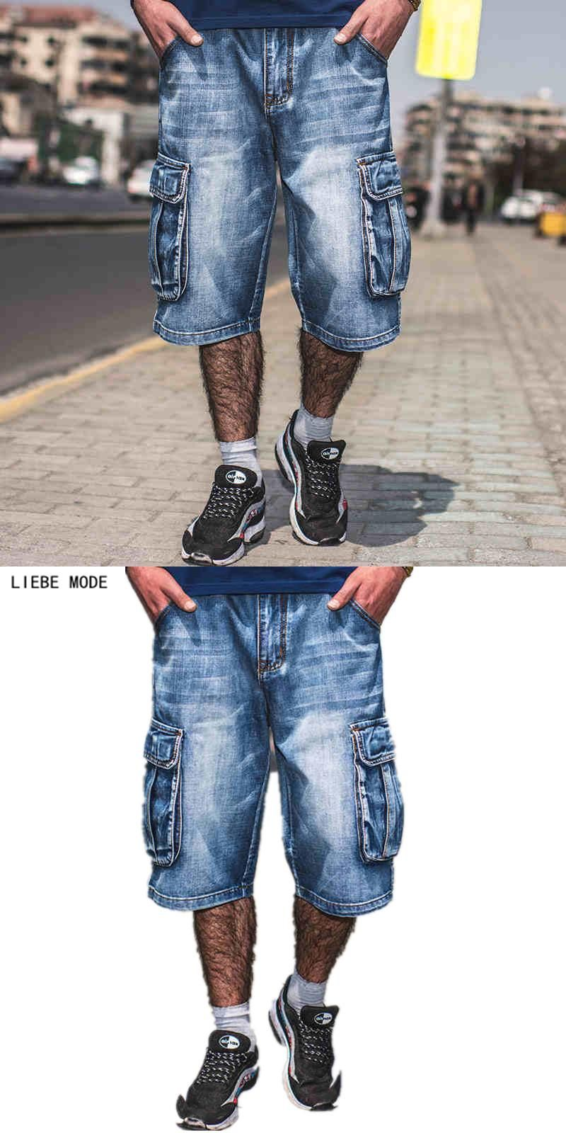 173fe7d3aa97c New Brands Mens Summer Hip Hop Denim Baggy Jeans Shorts Men Plus Size Side  Pocket Blue Loose Cargo Shorts Jeans For Men Size 46