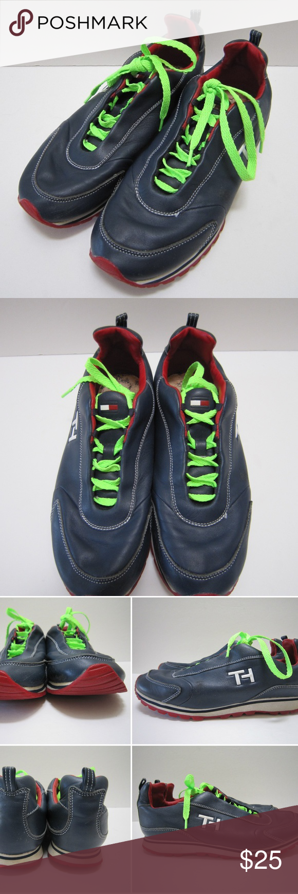a6a3150e5943cf Vtg Tommy Hilfiger Leather Tennis Shoes Sneakers Vintage 90s Tommy Hilfiger  Logo Womens Blue Leather Tennis