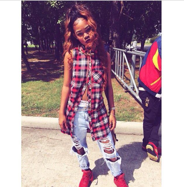 pretty girl swag plaid shirt vest ripped denim jeans dope