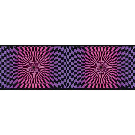 Blue Mountain Funky Optics Wallpaper Border, Purple/Pink