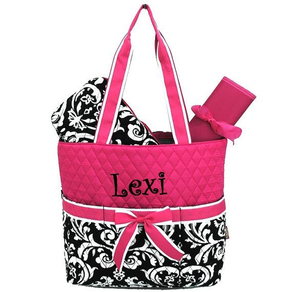 Personalized Damask Diaper Bag Set Hot Pink By Mauricemonograms 36 00 For Lisa