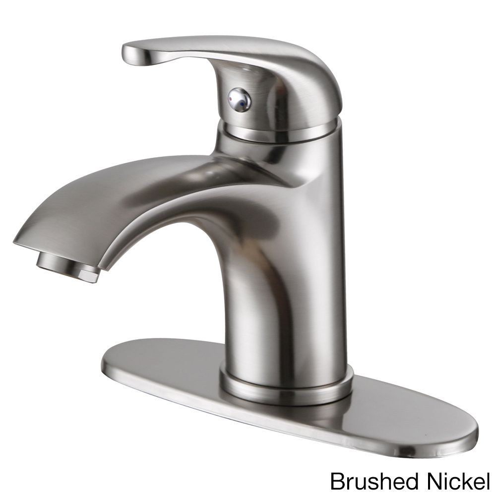 Elite Luxury Short Single-handle Bathroom Faucet and Cover Deck Plate (Brushed Nickel Finish)