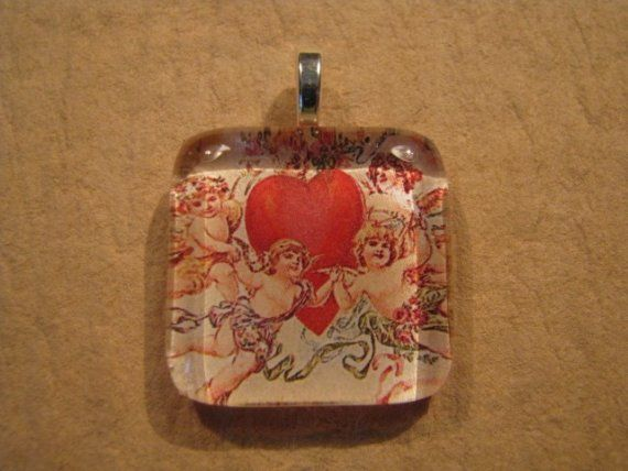 30% OFF Valentine Jewelry Cupid Heart Square Glass Pendant - Retired Design - Was $15.00.