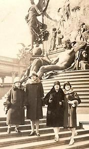 Vintage 1920s era photo - girlfriends in europe on fountain/sculpture steps