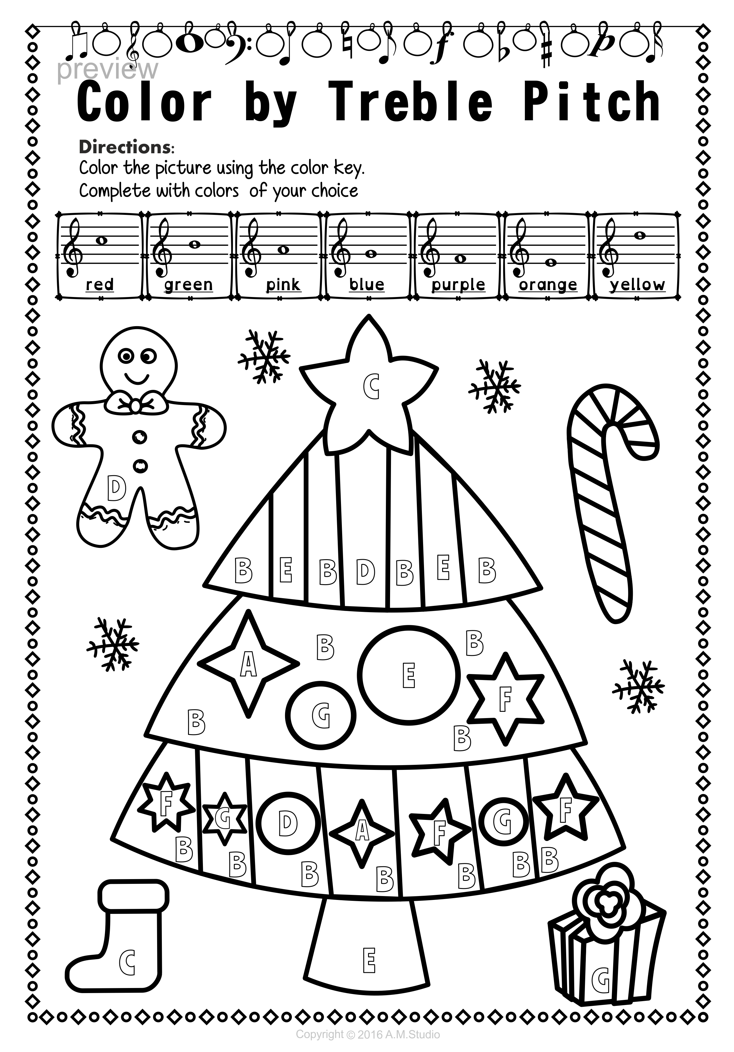 Christmas Treble Clef Note Reading Worksheets | Musik und Schule