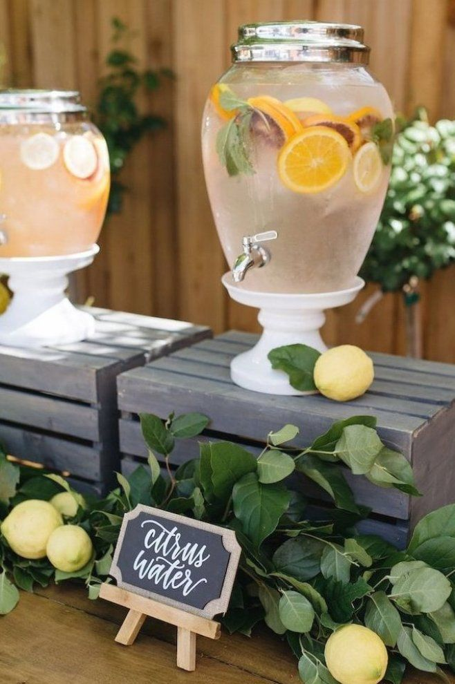 Beverage dispenser from a Rustic Lemon Themed Baby Shower on Kara s Party Ideas     20   ad #decoration #ideas #party #decorating #ideas #decor #ideas