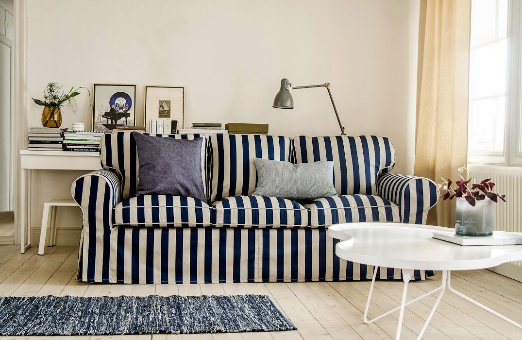 City Living In Stripes Ektorp 3 Seater Sofa Cover In Stockholm Stripe Deep Navy Blue Cushion Covers In Ink Living Room Renovation Living Room Decor Ikea Sofa